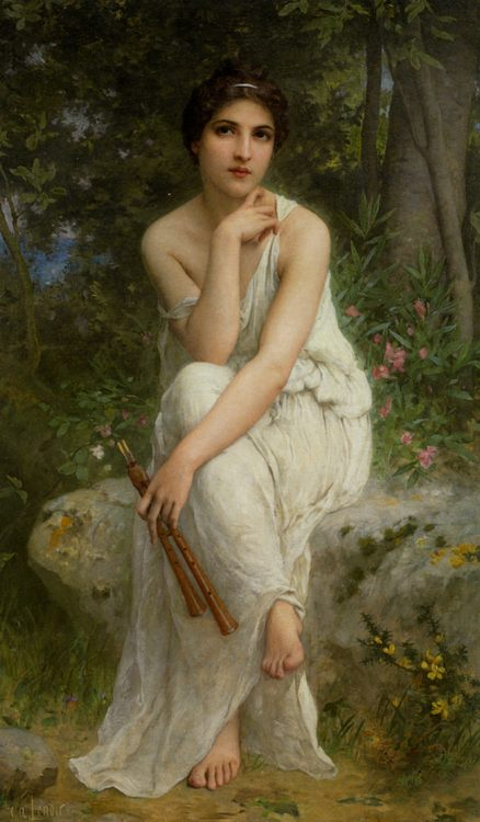 The Flute Player :: Charles Amable Lenoir - Antique beauties in art and painting ôîòî
