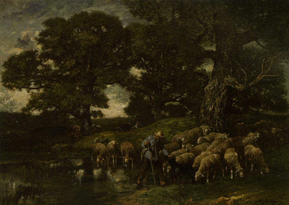 A Shepherd and his Flock by a Pond :: Charles Emile Jacque - Village life ôîòî