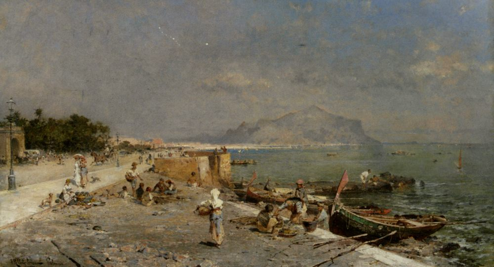 On The Waterfront at Palermo :: Franz Richard Unterberger - Coastal landscapes ôîòî