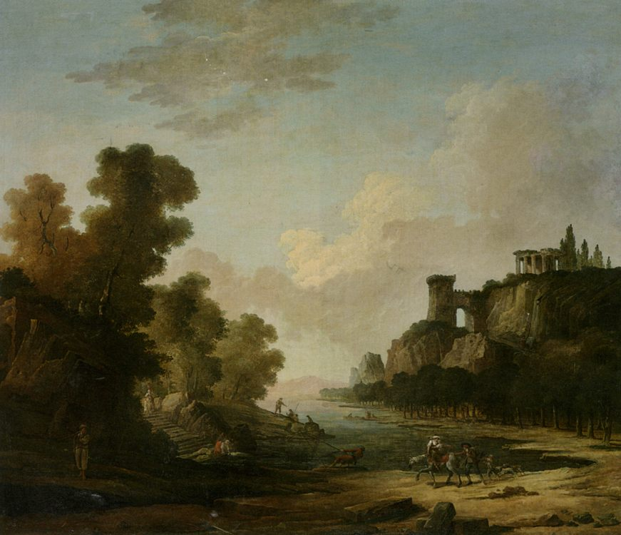 Figures on the Banks of a Lake with Classical Ruins :: Hubert Robert  - Ruins фото