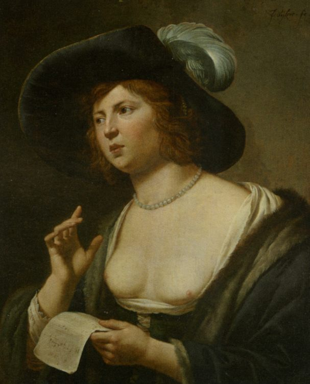 A Woman Singing :: Jan van Bijlert - 3 women portraits 17th century hall ôîòî