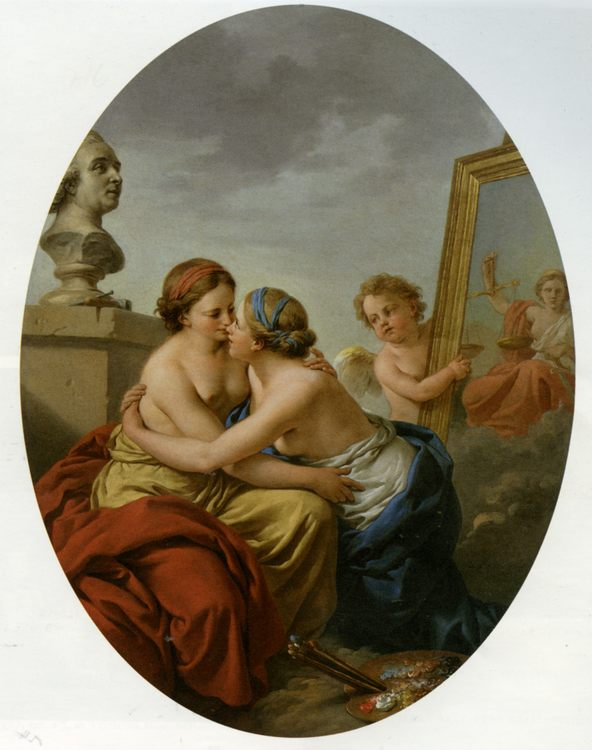 The Union of Painting and Sculpture :: Louis Lagrenee - Allegory in art and painting фото