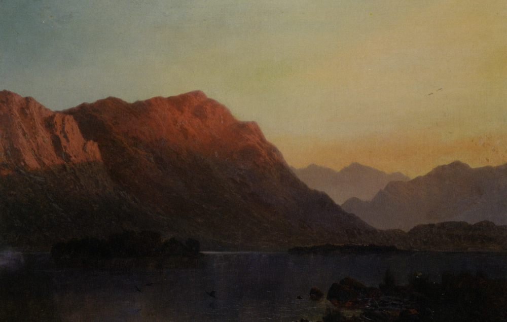 Sunset in the Highlands :: Alfred de Breanski Snr - Sunset and sunrise, sundown фото