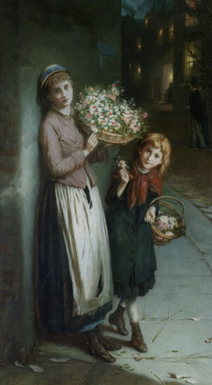 Flower Girls :: Augustus Edwin Mulready - Street and market genre scenes фото