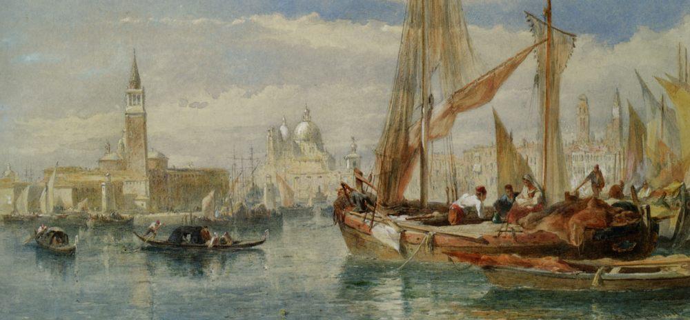 Il Isola de S Giorgio Maggiore with il Santa Maria della Salute in the Distance :: Edward Angelo Goodall - Venice фото