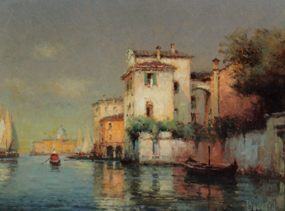 Venetian Canal Scene with Fishing Boats and Gondolas :: Noel Bouvard - Venice фото