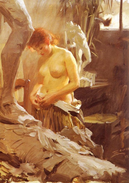 Bared in a workshop :: Anders Zorn  - Nu in art and painting фото