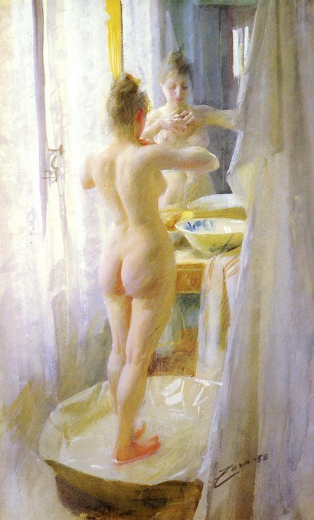 The bathtub :: Anders Zorn  - Nu in art and painting фото