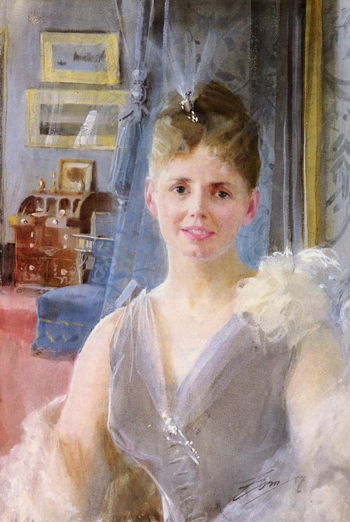 Portrait Of Edith Palgrave Edward In Her London Residence :: Anders Zorn  - 7 female portraits ( the end of 19 centuries ) in art and painting ôîòî