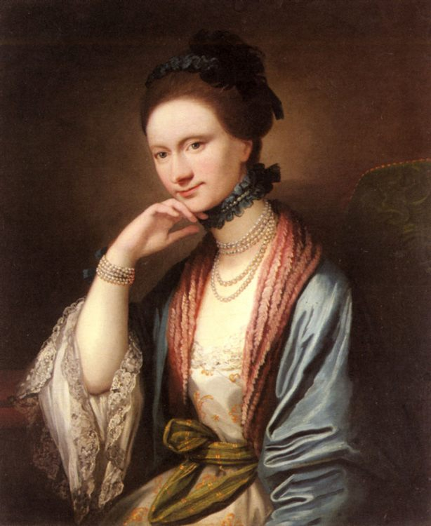 Portrait of Ann Barbara Hill Medlycott (1720-1800) :: Benjamin West - 4 women's portraits 18th century hall ôîòî