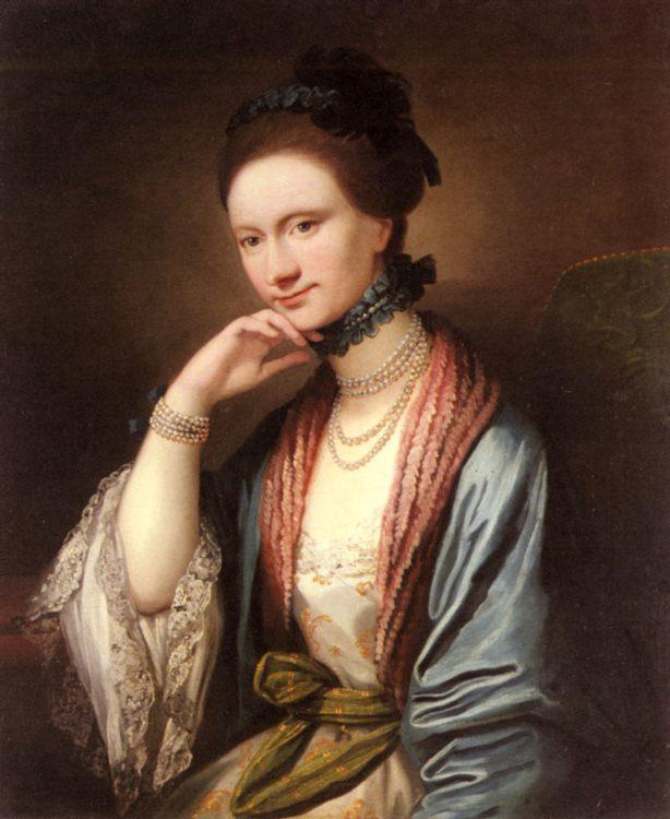 Portrait of Ann Barbara Hill Medlycott (1720-1800) :: Benjamin West - 4 women's portraits 18th century hall фото