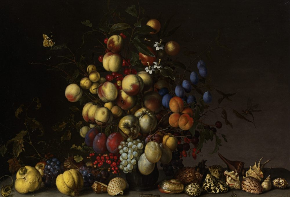 Various Fruit in a Vase with Insects and a Lizard :: Balthasar Van Der Ast - Still-lives with fruit фото