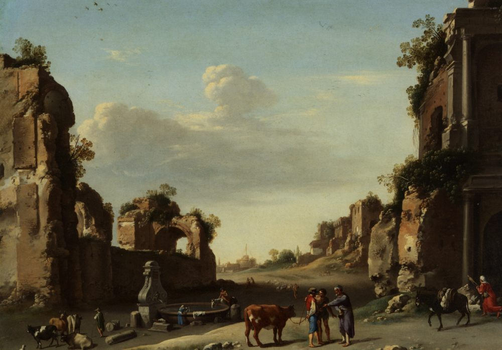 Roman Ruins with a Merchant Buying Bull :: Cornelis van Poelenburgh  - Ruins фото