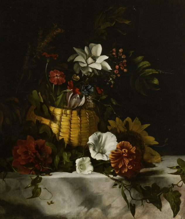 Basket of Flowers on a Marble Ledge :: Dirck de Bray  - flowers in painting фото