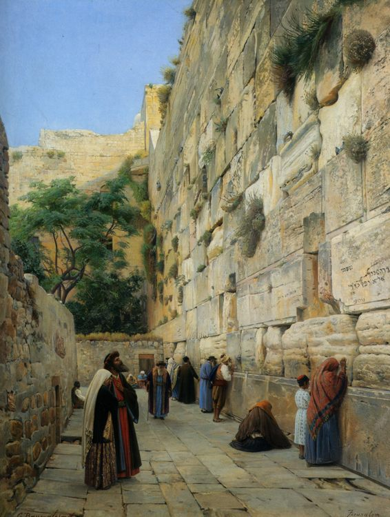 The Wailing Wall Jerusalem :: Gustav Bauernfeind - Antique world scenes ôîòî