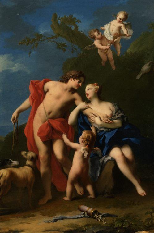 Venus and Adonis :: Jacopo Amigoni - mythology and poetry фото