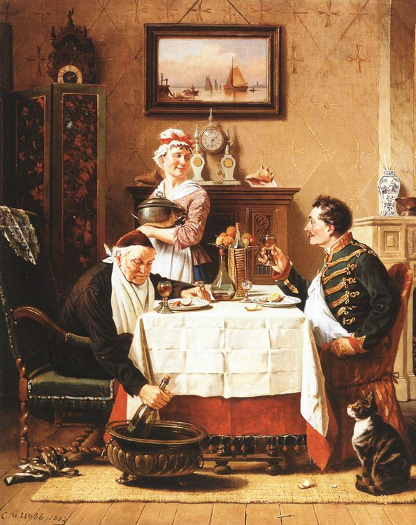 A Satisfying Meal :: Charles Meer Webb - Romantic scenes in art and painting фото