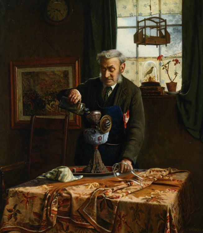Filling the Lamp :: Charles Spencelayh  - Interiors in art and painting фото