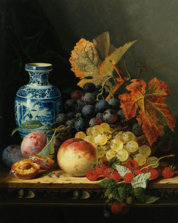 Still life with Chinese vase :: Edward Ladell - Still-lives with fruit фото