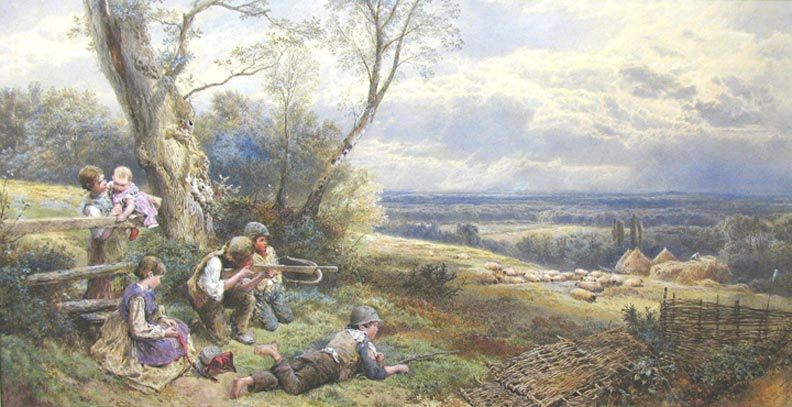A Sure and Steady Aim :: Myles Birket Foster, R.W.S. - Children's portrait in art and painting фото
