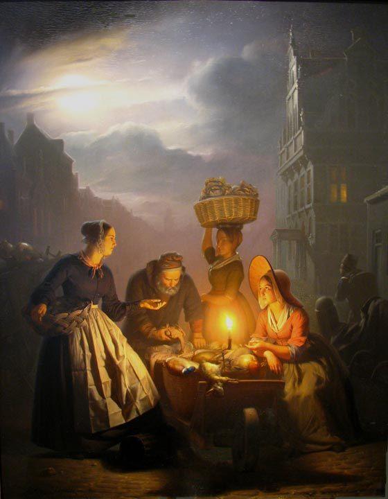 A Market Scene by Moonlight :: Petrus Van Schendel - Street and market genre scenes фото