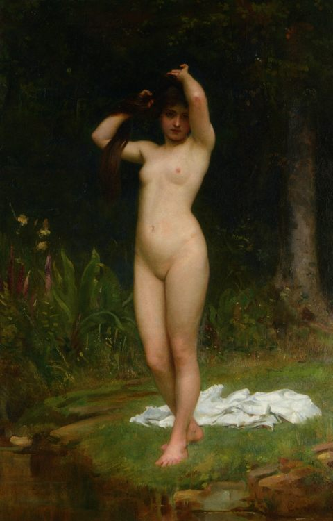 A Woodland Nymph :: Philip Hermogenes Calderon  - nu art in mythology painting фото